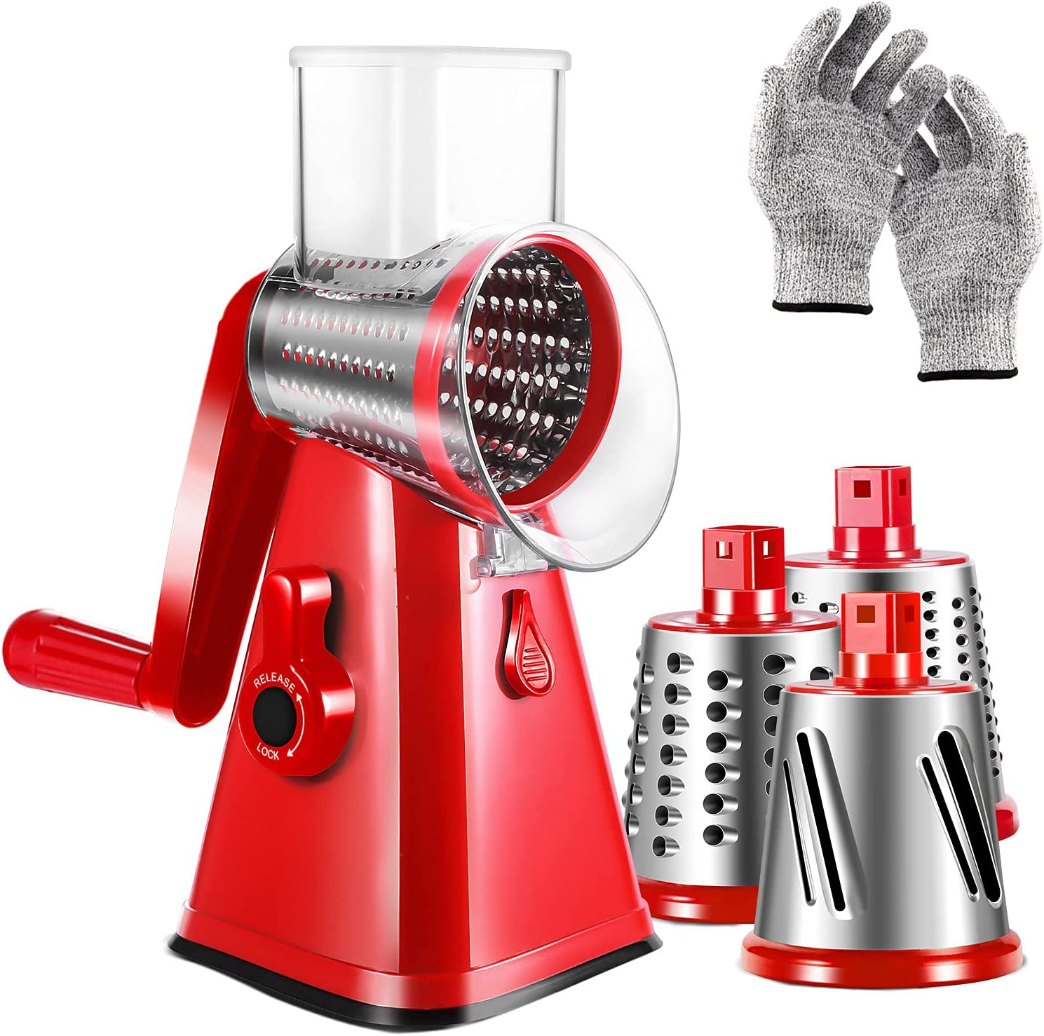 Rotary Cheese Grater, 3-in-1 Kitchen Mandoline Vegetable Slicer with Interchangeable Stainless Steel Drum Blades Rotary Grater Slicer for Vegetable fruit Nuts Grinder Cheese Shredder,Easy to Clean