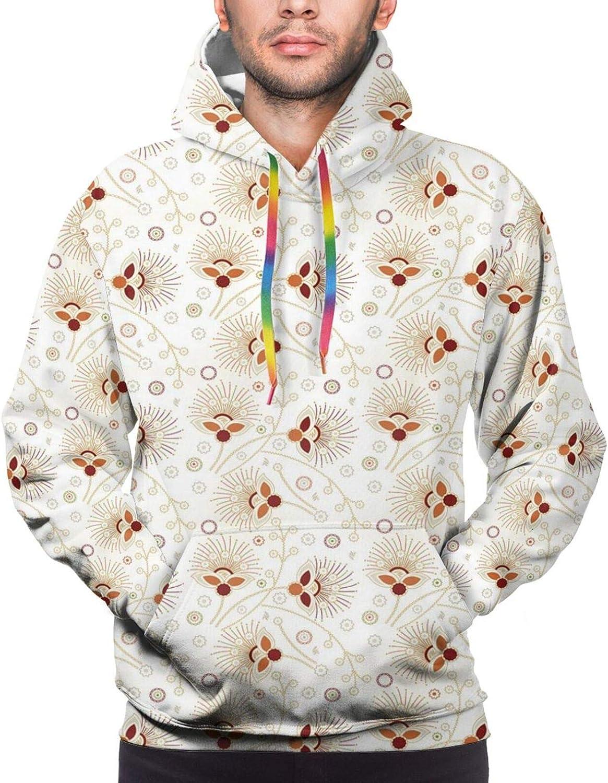 Men's Hoodies Sweatshirts,Chevron Zigzags Background with Ornate Flourishing Petals Illustration