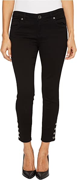 KUT from the Kloth - Petite Connie Ankle Skinny-Snaps Side Legs in Black