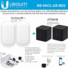 NanoStation AC Loco 5AC NS-5ACL-US (2 Pack) 5GHz 802.11ac airMAX CPE Radio 450Mbps Wireless Access Point with airvPack Home Wireless AP PoE 24V Indoor/Outdoor