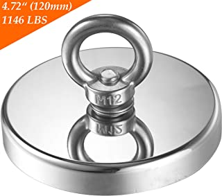 Fishing Magnets, Wukong 1146 lbs(520 KG) Pulling Force Super Strong Neodymium Rare Earth Magnet with Countersunk Hole Eyebolt Diameter 4.72 inch(120mm) for Retrieving in River and Magnetic Fishing
