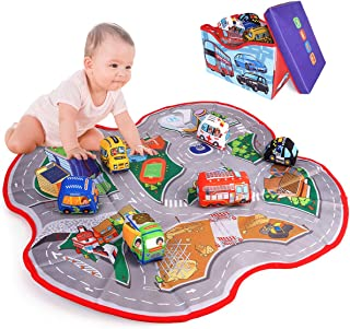 Kitoid 2in1 Car Toy Storage Box&Playmats for Toddler,Baby(including 6 cloth vehicles whom for Age 0+ baby ),Washable Cloth...