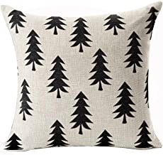 QINU KEONU Pine Tree Forest White Geometry Cotton Linen Throw Pillow Case Cushion Cover Home Sofa Decorative 18 X 18 Inch ¡ (Style G)