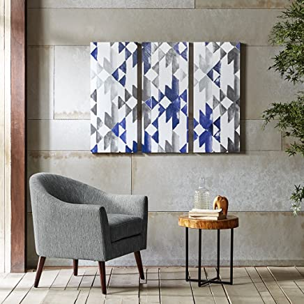 Ink+Ivy Navy Sierra Grey White Canvas Wall Art 15X35 3 Piece Multi Panel, Patterned Modern/Contemporary Wood Wall Décor