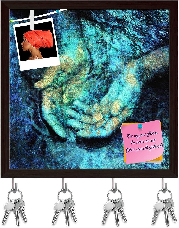 Artzfolio Mystical Hands in Water Key Holder Hooks   Notice Pin Board   Dark Brown Frame 20 X 20Inch