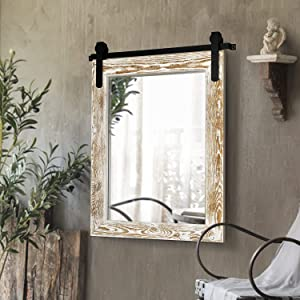 H&A Farmhouse Wall Mirror, Rustic Wood Framed Wall Decor Mirror, Barn Door-Inspired Rustic Mirrors for Living Room, Bathroom Vanity 28''x 22'' (White)