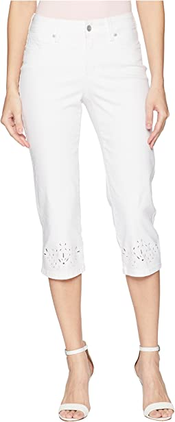 NYDJ Marilyn Crop Eyelet Embroidery Hem in Optic White