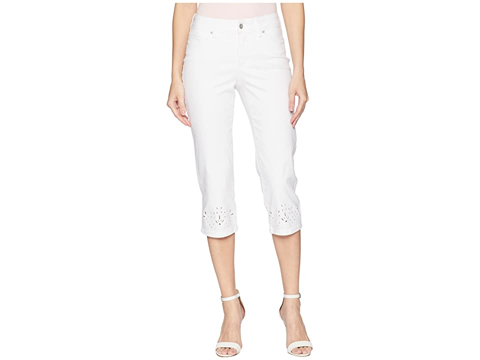 NYDJ Marilyn Crop Eyelet Embroidery Hem in Optic White (Optic White) Women's Jeans
