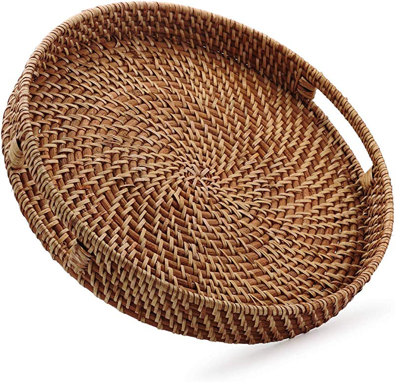 Round Rattan Woven Serving Tray With Handles For Breakfast Drinks Snack For Coffee Table Home Decorative 16 9 Inch Honey Brown