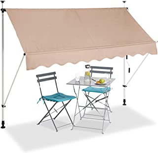 relaxdays, Beige Telescopic Canopy, Balcony Sunshade, Clamp Awning, No Drilling, Retractable & Adjustable, Width 250 cm, 2...