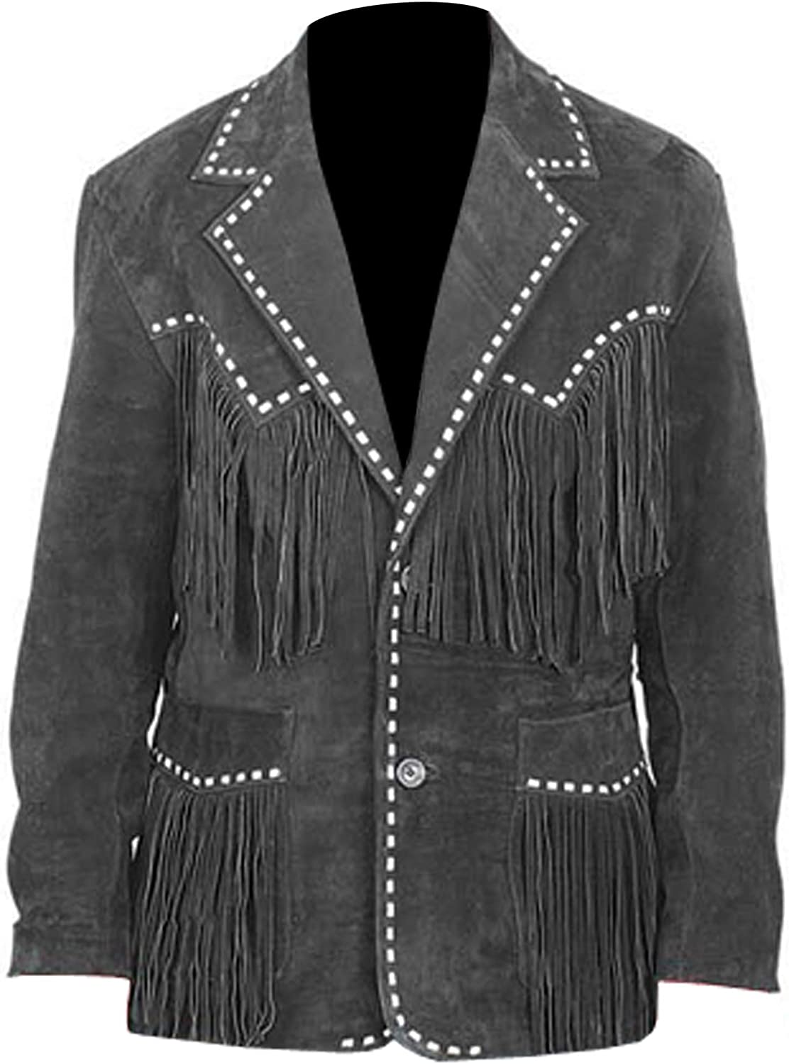 Men's Suede Leather Western Style Cowboy Jacket With Fringe And Beaded Small to 4XL