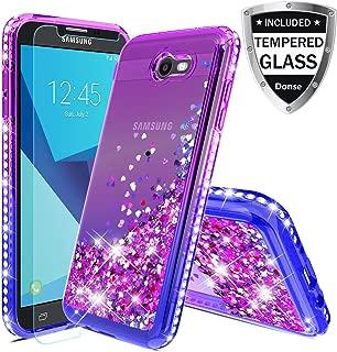 Donse Samsung Galaxy J3 Emerge/ 2017/ Prime/Eclipse/Luna Pro/Galaxy Sol 2,W/Tempered Glass Screen Protector Clear TPU Liquid Glitter Bling Flowing Sparkle Side Diamond for Girls Women Purple/Blue