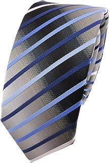 Modische schmale TigerTie Designer Krawatte anthrazit dunkelgrau fein gestreift
