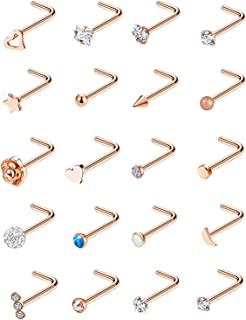 YOVORO 20G 12Pcs Stainless Steel L Shaped Nose Rings CZ Nose Stud Body Piercing Jewelry