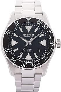 Eterna Men's KonTiki Diver 44mm Steel Bracelet & Case Automatic Black Dial Analog Watch 1290-41-49-1753