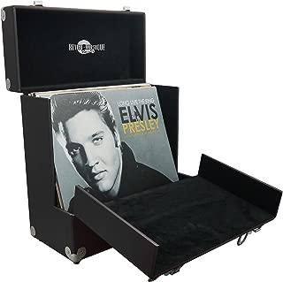 Retro Musique 12 pulgadas de Vinilo LP Caja de Almacenamiento Con tapa plegable Única Frente Para un mejor Acceso a su LPs (Rojo) (Black)