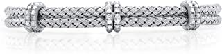 TJD 925 Sterling Silver 1/2 Carat (I Color, I3-I4 Clarity) Natural Diamond Mesh Bangle for Women