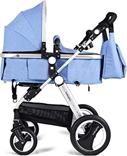 BABY JOY Baby Stroller, 2-in-1 Convertible Bassinet Reclining Stroller, Foldable Pram Carriage with 5-Point Harness, Including Cup Holder, Foot Cover, Diaper Bag, Aluminum Structure, Blue