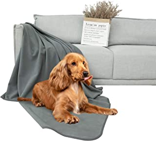 DEARTOWN Waterproof Dog Blanket for Bed Couch Sofa 70x90 Inches, GreyReversible Microfiber Dog Bed Cover for Large Dogs, P...