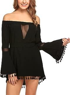 Zeagoo Women Off Shoulder Flare Sleeve Tassel Belted Sexy Casual Mini Dress