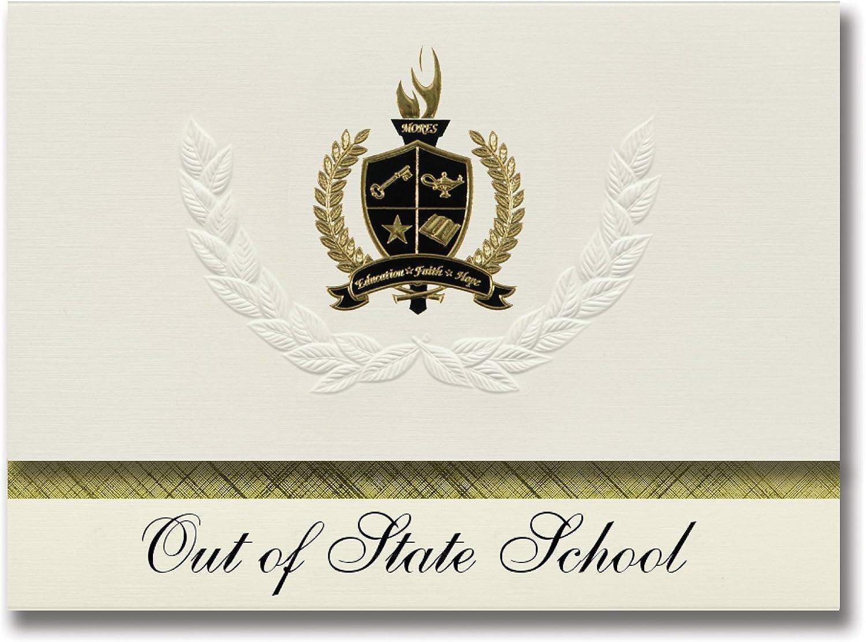 Signature Ankündigungen Out Of State Schule (St. George, UT) Graduation Ankündigungen, Presidential Stil, Elite Paket 25 Stück mit Gold & Schwarz Metallic Folie Dichtung B078VD9424   | Erschwinglich