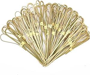 ASFUNG, 100 Pcs Bamboo Cocktail Picks Fruit Toothpick Sticks Knot Skewer Decorative Food Pick Tapas BBQ Heart Shaped