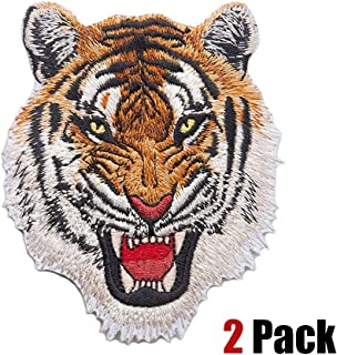 2 Pack Delicate Embroidered Patches, Cool Tiger Embroidery Patches, Iron On Patches, Sew On Applique Patch, Custom Backpack Patches for Men, Boys, Kids, Super Cool! (L)