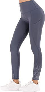 JUANGLA Women Yoga Pants High Waist Gym Sports Workout Leggings Reflective Activewear Training Running Pants with Pockets