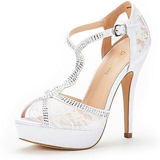4fb5c255e102 DREAM PAIRS Women s Swan-16 High Heel Fashion Stilettos Peep Toe Pump Heeled  Sandals