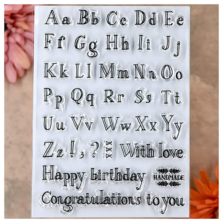 Kwan Crafts Letters English Alphabet Happy Birthday Congratulations Clear Stamps for Card Making Decoration and DIY Scrapbooking