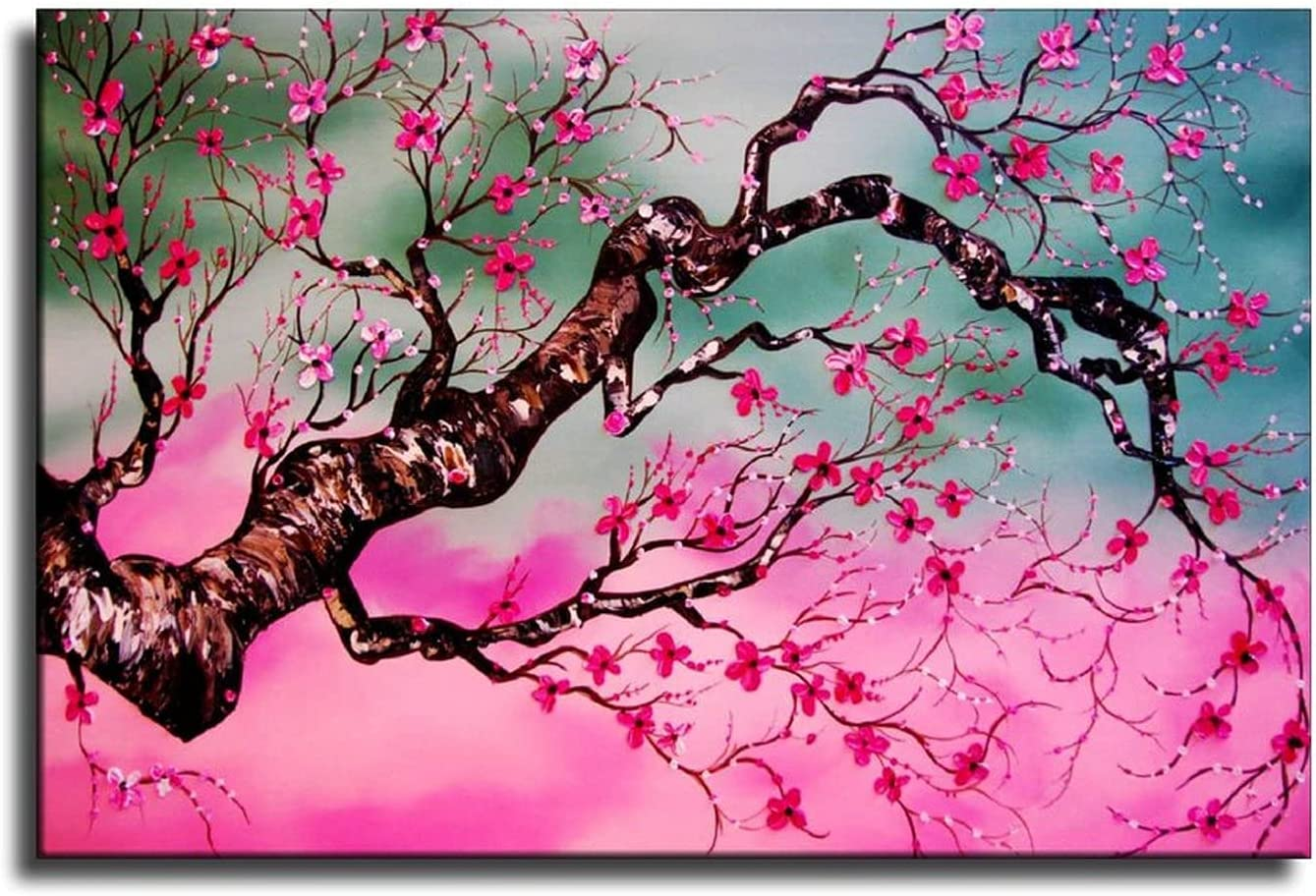 ATK Pink Cherry Blossom Painting Flower Courier shipping free shipping Art Wall Award-winning store Abstract
