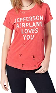 Lucky Brand Women's Cotton Ripped Jefferson-Graphic T-Shirt