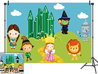 Cartoon Wizard of Oz Photo Background Kids Birthday Party Supplies Cute Tin Scarecrow Lion Emerald City Photography Backdrop Baby Shower Photo Booths Studio Props Decorations 5x3ft Vinyl