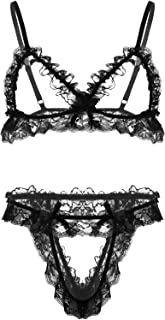 iixpi Men's Sissy Ruffled Frilly Lace Underwear Set Mini Bra Top with Hollow Out Briefs Nightwear