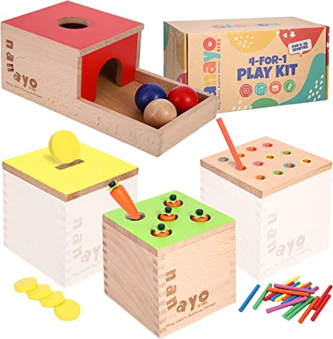nanayo 4-for-1 Play Kit Includes Object Permanence Box, Montessori Coin Box, Carrot Harvest Game, Matchstick Color Drop Game – Montessori Toys for Babies 6-12 Months, 1 Year, 2 Year and 3 Year