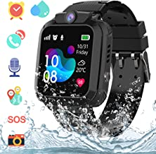 AGPS Waterproof Kids Smart Watch for Students, Girls Boys Touch Screen Smartwatch with AGPS/LBS Tracker Voice Chat One-Key SOS Help Anti-Lost Calling Phone Watches (S12 Black)