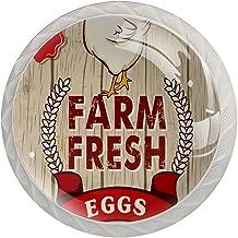 Lade Handvatten Trek Decoratieve Kast Knoppen Dressoir Lade Handvat 4 Pcs,Farm Verse Kip Egg