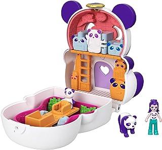 Polly Pocket Coffret Transformable réversible Panda Géant avec mini-figurines Polly, panda et accessoires, jouet enfant, é...