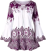 aihihe Plus Size Long Sleeve Tops for Women Casual Shirts Floral Printed Bell Sleeve Crew Neck Tunic T Shirt Blouses