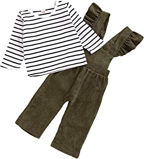 Fall Winter Outfits Toddler Baby Girl Pants Sets Stripe Long Sleeve Top + Strap Loose Overalls Jumpsuit Clothes 0-4T