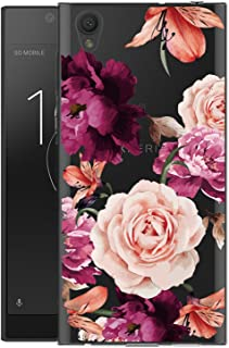 BAISRKE Sony Xperia L1 Case, Xperia L1 Case with Flowers Slim Shockproof Clear Floral Pattern Soft Flexible TPU Back Cove for Sony Xperia L1 [Purple Pink]