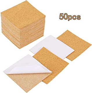 50 Pack Self-Adhesive Cork Sheets Squares 4