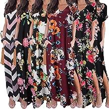aihihe Boho Maxi Dresses for Women Summer Plus Size V Neck Short Sleeve Floral Print Beach Dress with Pocket