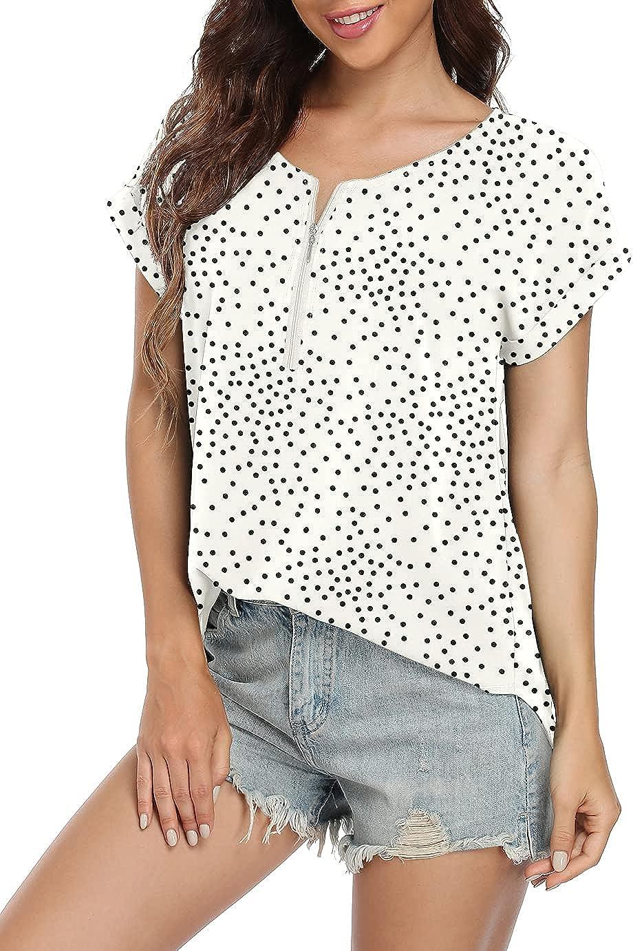 VIISHOW Women's Summer Casual Rolled Cuff Zip Half Placket Chiffon Short Sleeve Top Blouses