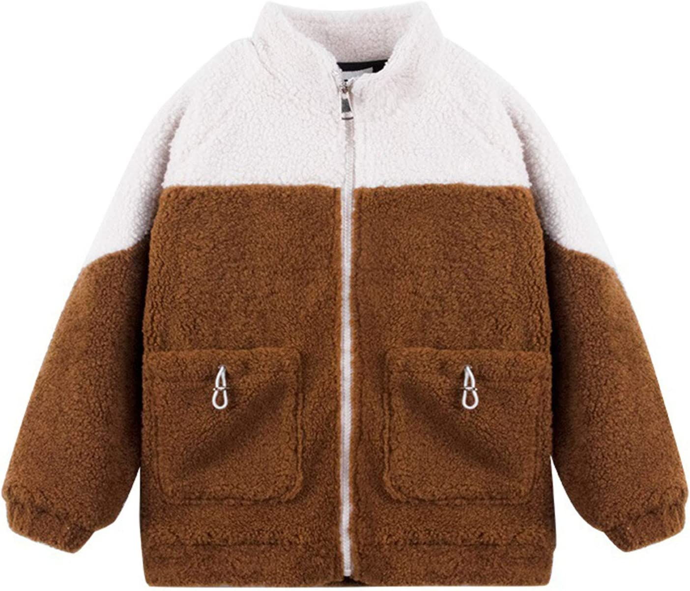 DUTUI Children's Clothing Jacket Autumn and Winter Models Boys Thick Fleece Jacket, Boys and Girls Warm Casual Vest Non Hooded Jacket,Brown,3XL