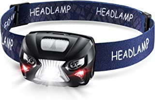 Headlamp, NIMAI LED Rechargeable Headlamp, Gesture-sensing, red safety warning flashlight, small and lightweight, adjustable angle, IPX6 waterproof [for cylcing/camping/outdoor activities use]