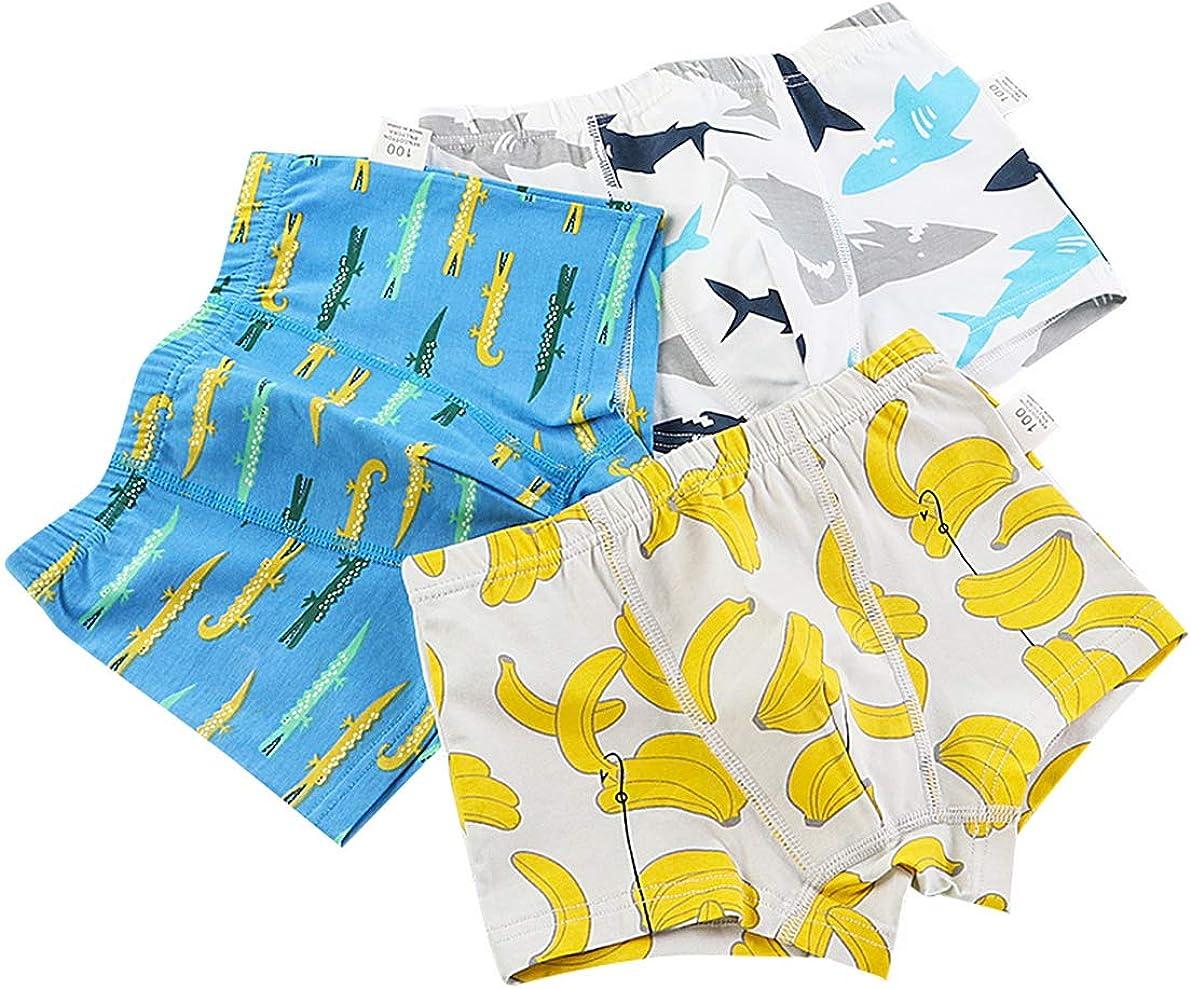 Lot de 3 pi/èces Boxer Gar/çon Cale/çon sous-v/êtement Coton Boxers Short Enfant Gar/çon Slip Imprim/é Culotte