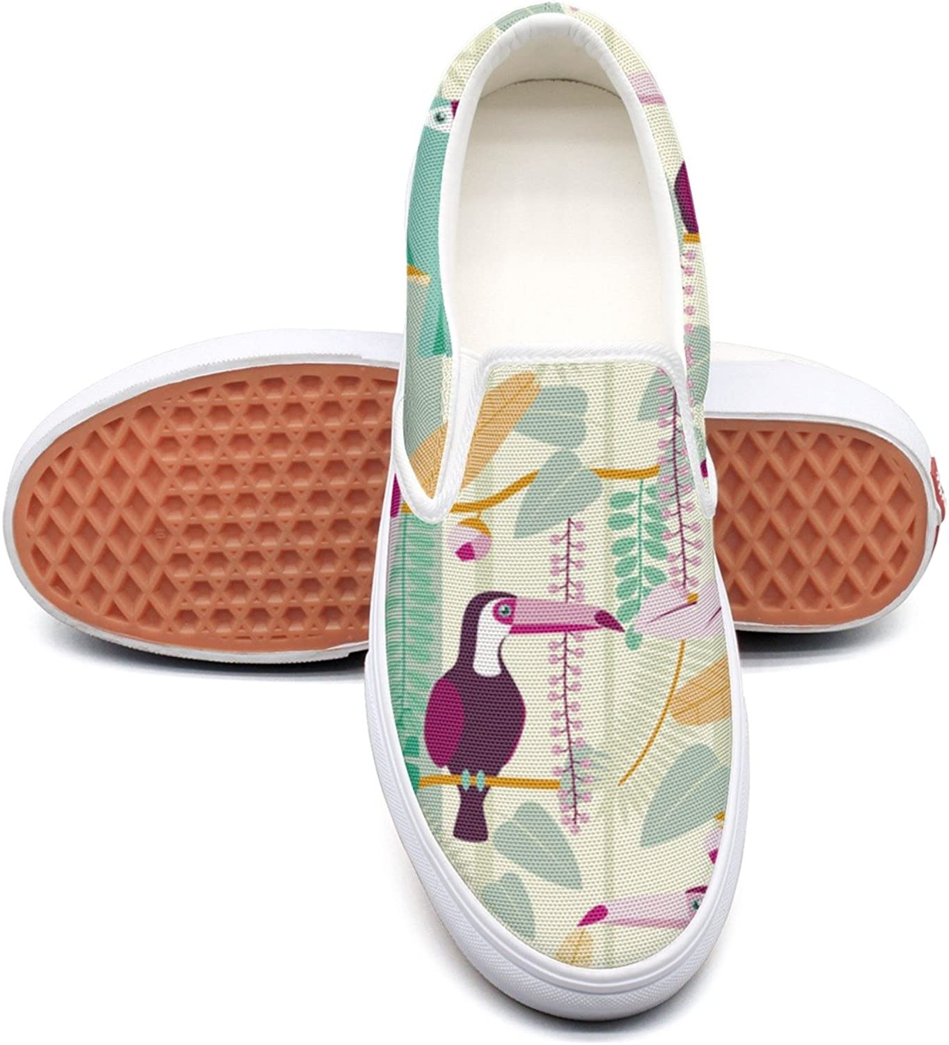 SEERTED Tropical Toucan Jungle Birds Leaves Casual Sneakers for Women Wide Width