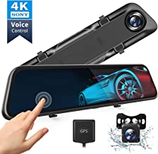 """VanTop H612T 12"""" 4K Mirror Dash Cam for Cars, Voice Control Full Touch Screen Rear View Mirror Camera, GPS Tracking, Waterproof Backup Camera 2.5K Max, 8MP Sony Sensor for Super Night Vision"""