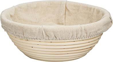 eoocvt 7.9 inch Round Banneton Brotform Bread Dough Proofing Rising Rattan Handmade Basket & Linen Liner Cloth